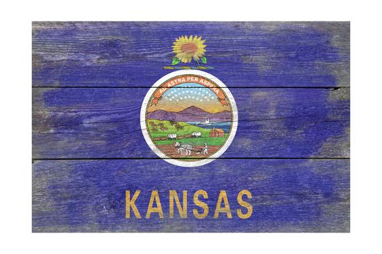 Kansas State Flag - Barnwood Painting-Lantern Press-Art Print