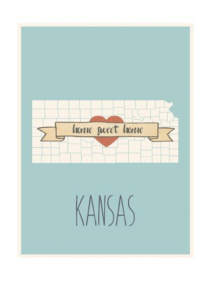 Kansas State Map, Home Sweet Home Art Print by Lila Fe | Art.com on missouri map, kansas small town map, printable kansas map, kansas interstate map, kansas elevation map, the state map, usa map, herington kansas map, colorado map, kansas lakes map, arkansas map, kansas counties map, kansas road map, kansas map with all cities, united states map, tennessee state map, kansas us map, oklahoma map, nebraska map, colby kansas map,