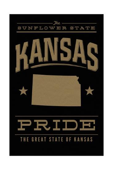 Kansas State Pride - Gold on Black-Lantern Press-Art Print