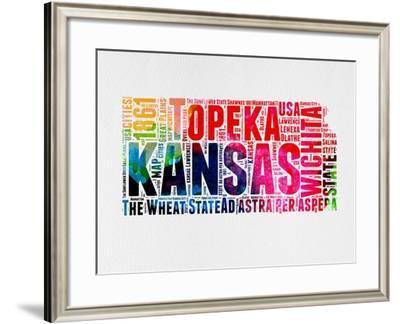 Kansas Watercolor Word Cloud-NaxArt-Framed Art Print