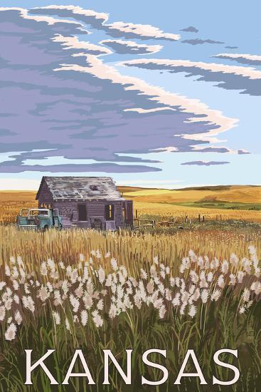 Kansas - Wheat Fields and Homestead-Lantern Press-Art Print