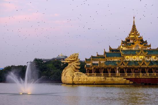 Karaweik, Kan Daw Gyi Lake and Park, Yangon (Rangoon), Myanmar (Burma), Asia-Nathalie Cuvelier-Photographic Print