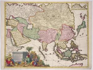 Map of Asia, Tartaria, Japan, the Philippines and East Indies, Engraved G. Van Gouwen, c.1690 by Karel Allard