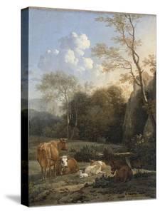 Le Bocage ; Vaches, ânes et moutons près d'un ruisseau by Karel Dujardin