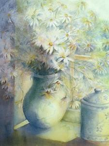 Asters - Snowsprite in Jug on Window Sill by Karen Armitage