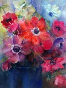 Caen Anemones in a Blue Jug by Karen Armitage