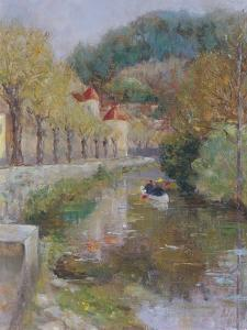 Canal at Noyers, Burgundy, 2002 by Karen Armitage