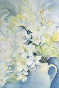 Freesia, Aurora and Ballerina in a White Jug by Karen Armitage