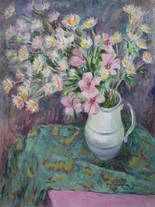 Pink Flowers in a Jug by Karen Armitage