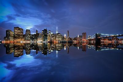 Brooklyn Bridge and Manhattan Skyline at Dusk, New York City, New York