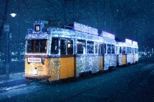 Budapest's Christmas Tram in a snow storm, Budapest, Hungary by Karen Deakin