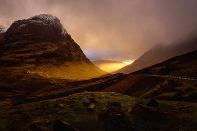 Glencoe Sunset, Scottish Highlands, Scotland, United Kingdom, Europe