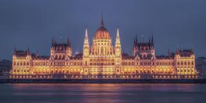Hungarian Parliament at twilight, Budapest, Hungary by Karen Deakin