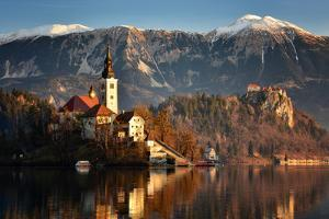 Lake Bled at Dawn with Santa Maria Church (Church of Assumption), Gorenjska, Julian Alps, Slovenia by Karen Deakin