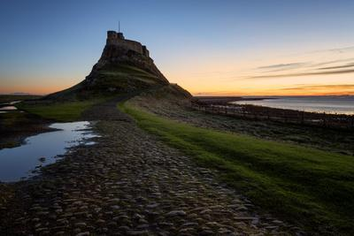 Lindisfarne Castle at dawn, Northumberland, England, United Kingdom, Europe