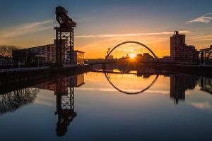 Sunrise at the Clyde Arc (Squinty Bridge), Pacific Quay, Glasgow, Scotland, United Kingdom, Europe by Karen Deakin