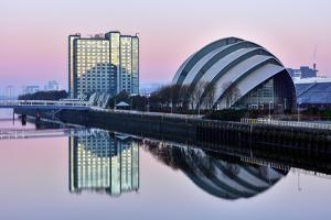 Sunrise at the Clyde Auditorium (The Armadillo), Glasgow, Scotland, United Kingdom, Europe by Karen Deakin