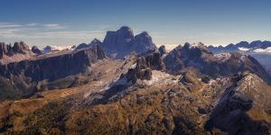 View of the Dolomites from the top of Monte Lagazuoi, Dolomites, Italy by Karen Deakin