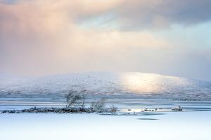 Winter View across Lochain Na H'Achlaise at Dawn, Rannoch Moor, Highland, Scotland, United Kingdom by Karen Deakin