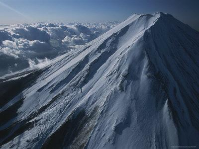 An Aerial View of a Snow-Covered Mt. Fuji
