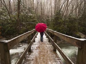 Girl Walking across a Wooden Bridge During a Spring Snowfall by Karen Kasmauski