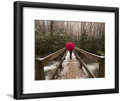 Girl Walking across a Wooden Bridge During a Spring Snowfall