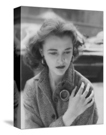 Vogue - August 1953 - Woman on Street Clutching Herself