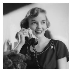Vogue - August 1953 - Woman Talking on Telephone by Karen Radkai