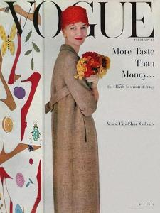 Vogue Cover - February 1956 - Flowers and Fashion by Karen Radkai