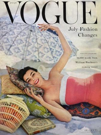 Vogue Cover - July 1954 - Beach Babe by Karen Radkai