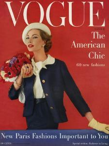Vogue Cover - March 1957 by Karen Radkai