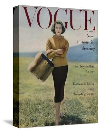 Vogue Cover - October 1956 - Fall into Fur