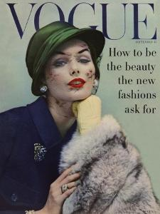 Vogue Cover - September 1956 - Lace and Fur by Karen Radkai
