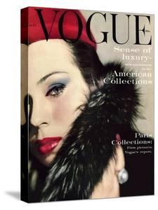 Vogue Cover - September 1959 - Fur Collar by Karen Radkai