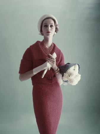 Vogue - February 1959 - Woman with Bouquet of Carnations