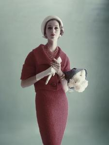 Vogue - February 1959 - Woman with Bouquet of Carnations by Karen Radkai