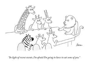 """""""In light of recent events, I'm afraid I'm going to have to eat some of yo?"""" - New Yorker Cartoon by Karen Sneider"""