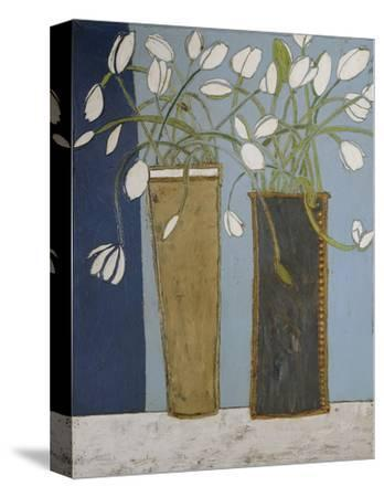 Elongated Vases with White Tulips