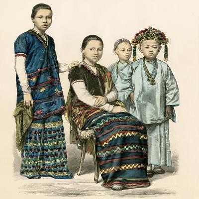 Karenni Women and Children of the Burmese Mountains, 1800s--Giclee Print