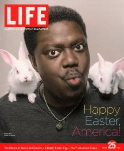 Happy Easter, Comic Actor Bernie Mac with White Rabbits on Shoulders, March 25, 2005 by Karina Taira
