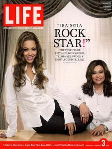 Portrait of Pop Music Star Beyonce and Mother Tina Knowles at Home, February 3, 2006 by Karina Taira