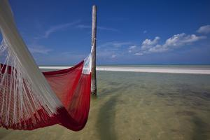 A Red Hammock Spread Out by the Wind Swings Above the Water During Low Tide, Hobox Island, Mexico by Karine Aigner