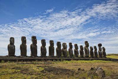 Fifteen Moai Statues Stand With Their Backs To The Sun At Tongariki, Easter Island, Chile