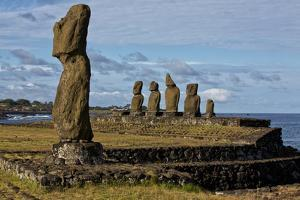 Moai Statues At Ahu Tahai On Easter Island, Chile by Karine Aigner