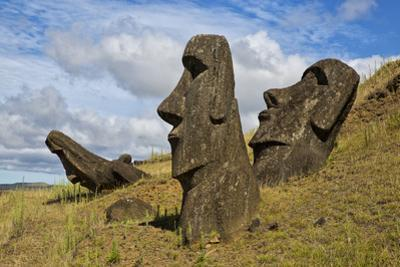 Moai Stone Statue Heads, At The Rapa Nui Quarry, Base Of Rano Raraku Volcano. Easter Island, Chile by Karine Aigner