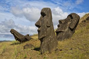 Moai Stone Statue Heads, At The Rapa Nui Quarry, Base Of Rano Raraku Volcano. Easter Island, Chile by Karine Aigner