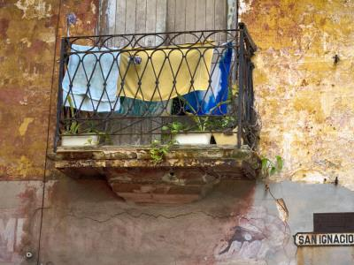 Clothes Hanging to Dry on Balcony on San Ignacio, Old Havana
