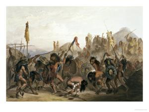 Bison-Dance of the Mandan Indians in Front of Their Medicine Lodge in Mih-Tutta-Hankush by Karl Bodmer