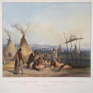Funeral Scaffold of a Sioux Chief Near Fort Pierre, Engraved by J. Hurliman, Published in 1839 by Karl Bodmer