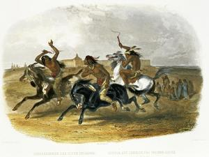 Horse Racing of Sioux Indians Near Fort Pierre by Karl Bodmer